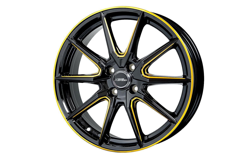 ホットスタッフ クロススピード プレミアム RS10 15インチ 4.5J+45 4H100 ピアノブラック/サイドマシニング +ゴールド 2本 セット B01N6YORWZ