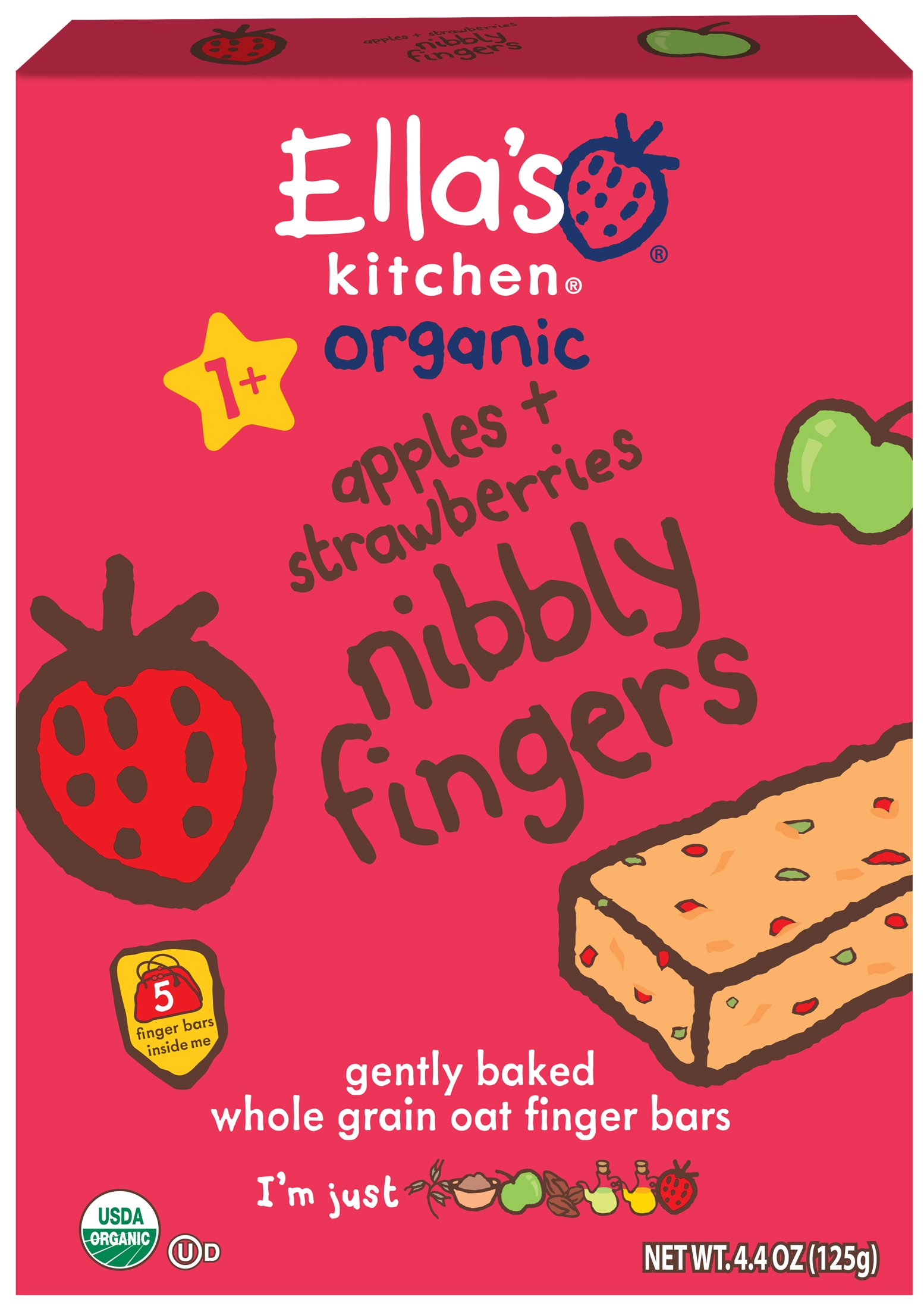 Ella's Kitchen Organic Nibbly Fingers, Apples + Strawberries, 5 Count (Pack of 12)