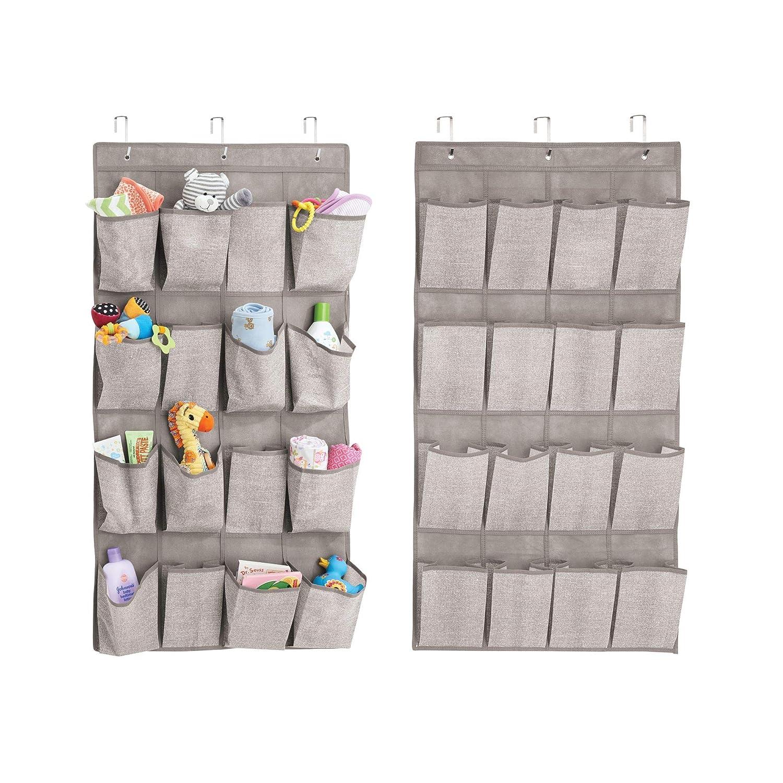 mDesign etagère murale avec 16 poches pour le rangement (lot de 2) – rangement suspendu en tissu – sac de rangement pour les articles bébé – gris MetroDecor 7846MDB