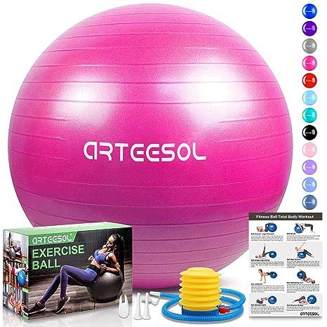 Arteesol - Pelota de Ejercicio, 65 cm, 75 cm, para Fitness, Yoga, antiquemaduras, Estabilidad, balón con Bomba para Fuerza del núcleo, Color Rosa, ...