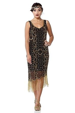 ab9c4ff45c8 Isabella Vintage Inspired Fringe Flapper Dress in Black Gold at ...