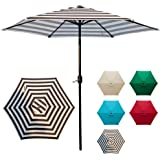 DOIFUN 9ft Patio Umbrella Aluminum Outdoor Umbrella Market Table Umbrellas with Push Button Tilt, Crank and 6 Sturdy Ribs for