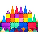 PicassoTiles 60 Piece Set 60pcs Magnet Building Tiles Clear Magnetic 3D Building Blocks Construction Playboards…