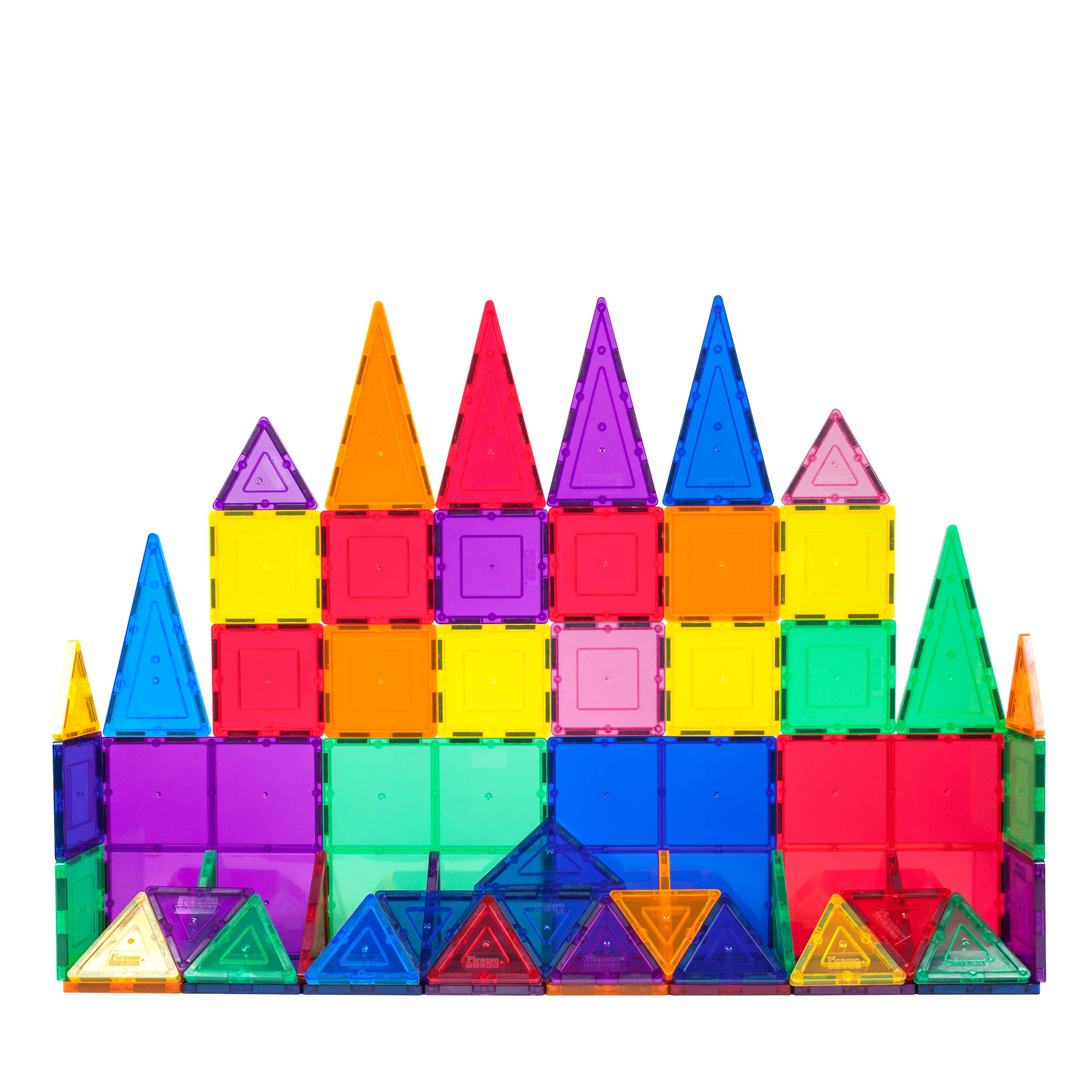 PicassoTiles 100 Piece Set 100pcs Magnet Building Tiles Clear Magnetic 3D New