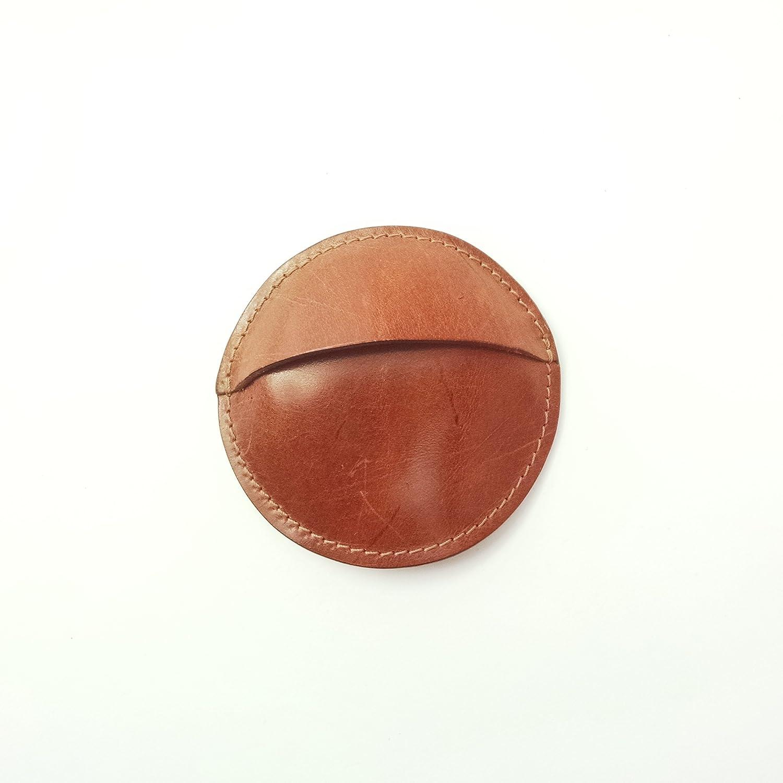 Monedero redondo artesanal de cuero vaquetilla-Castaño ...