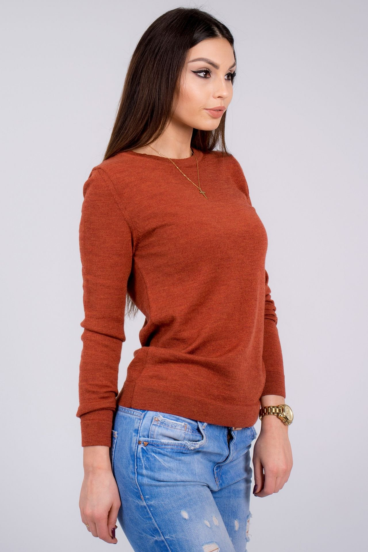 Women's Pure Merino Wool Classic Knit Top Lightweight Crew Neck Sweater Long Sleeve Pullover (X-Large, Orange) by KNITTONS (Image #3)