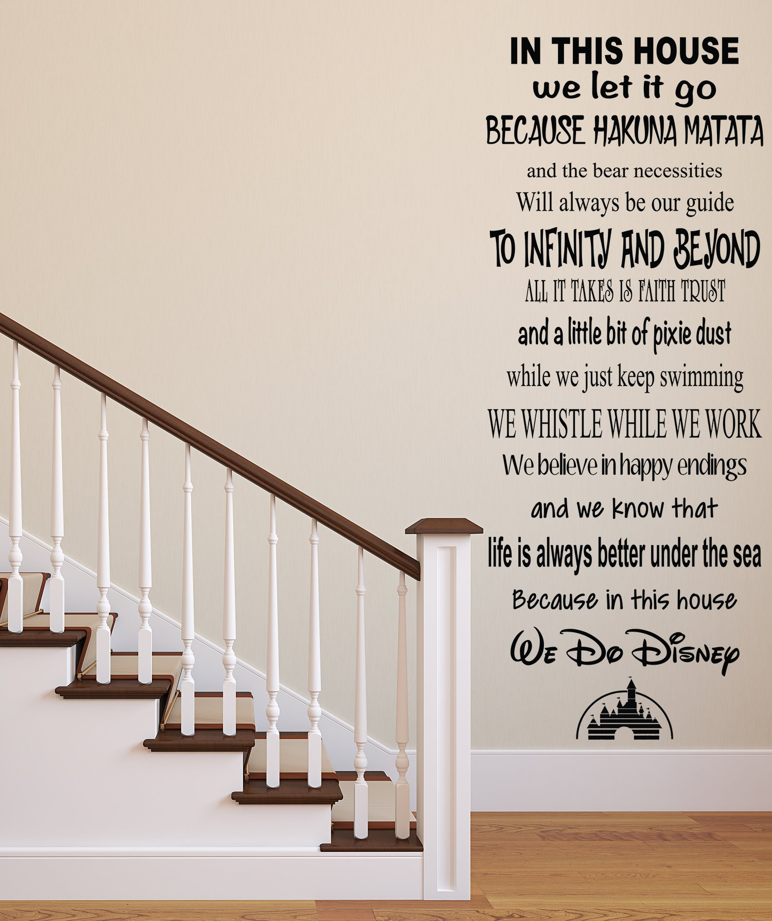 In This House We Do Disney Famous Movie Quote Wall Decal Living Room Decor Art Vinyl by Pinkie Penguin (Image #3)