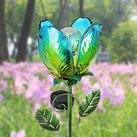 Amazon Com Exhart Solar Glass Flower Stakes Colorful Flower
