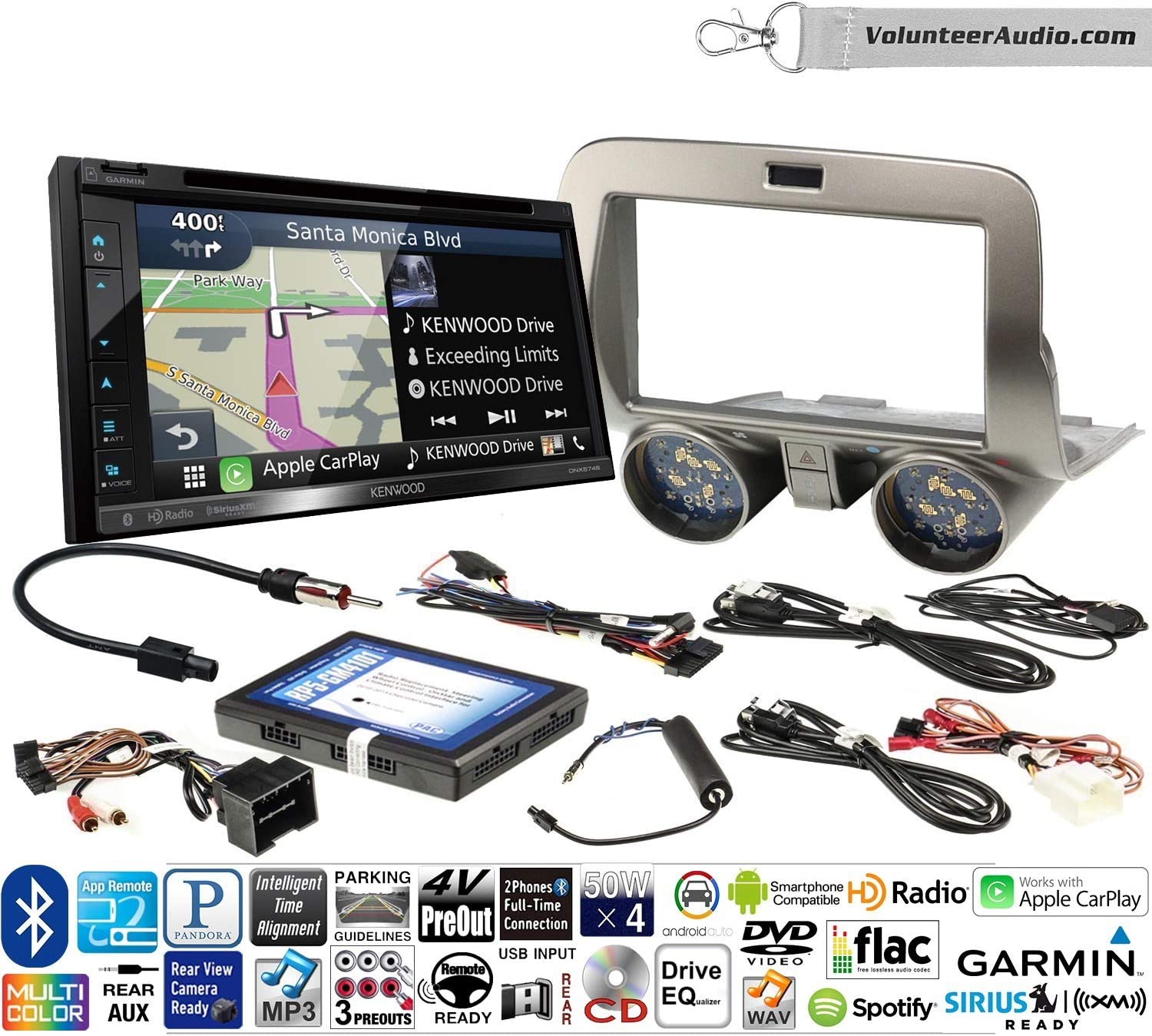 B07C22VHMD Volunteer Audio Kenwood DNX574S Double Din Radio Install Kit with GPS Navigation Apple CarPlay Android Auto Fits 2010-2015 Chevrolet Camaro 81EnbzGs5TL.SL1500_