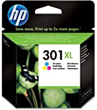 HP 301XL - Cartucho de tinta Original HP 301 XL de álta capacidad Tricolor para HP DeskJet, HP OfficeJet y HP ENVY