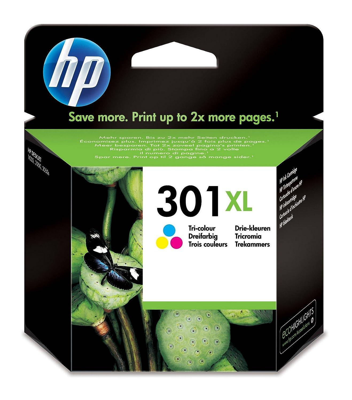 HP 301XL - Cartucho de tinta Original HP 301 XL de álta capacidad Negro para HP DeskJet, HP OfficeJet y HP ENVY CH563EE