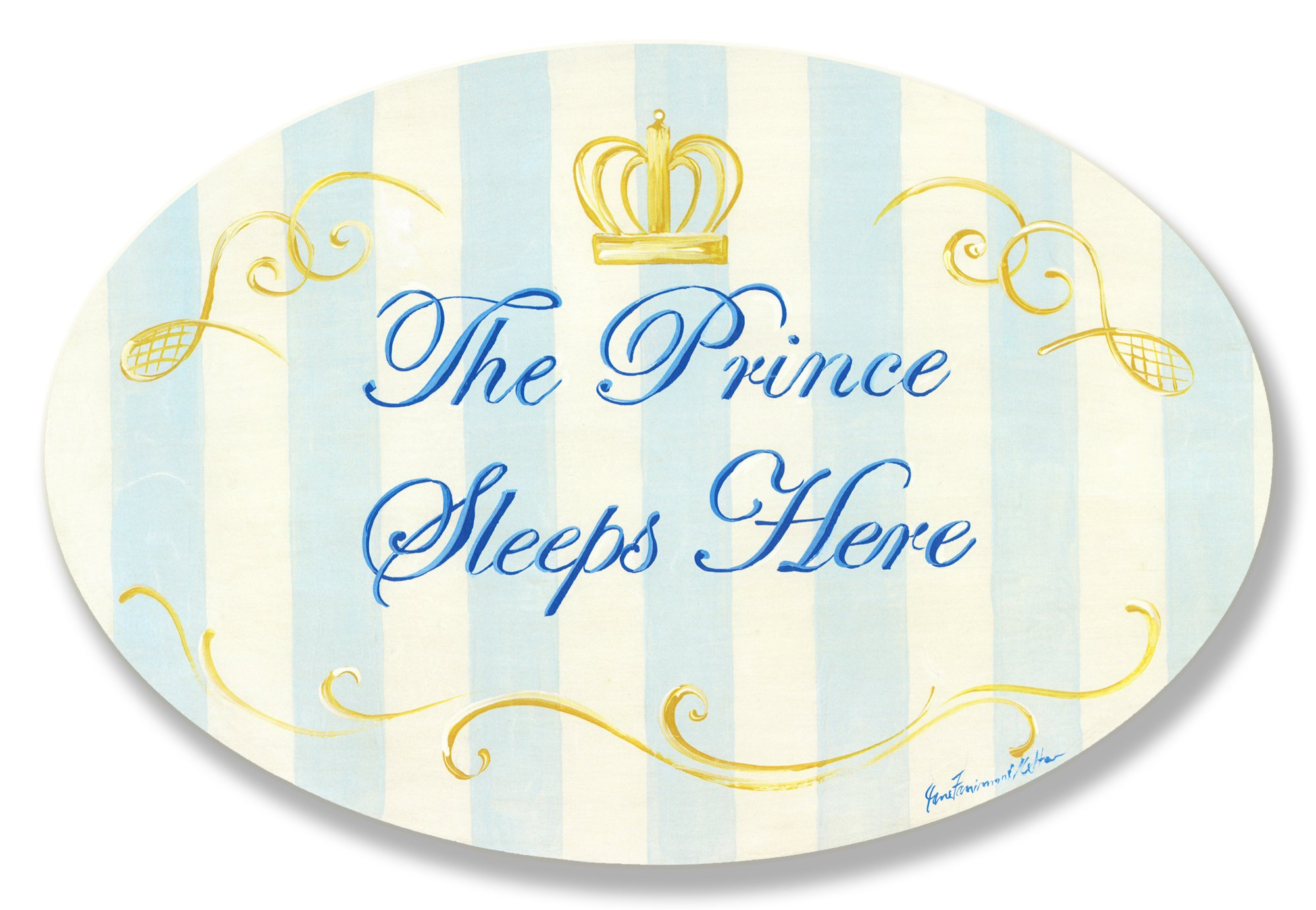 The Kids Room by Stupell The Prince Sleeps Here Blue and White Stripes with Crown Oval Wall Plaque, 10 x 0.5 x 15, Proudly Made in USA by The Kids Room by Stupell