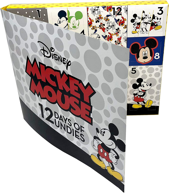 Disney Boys Minnie Or Mickey Mouse 12 Days Un-Boxing Gift Box 12-Pack Underwear Underwear