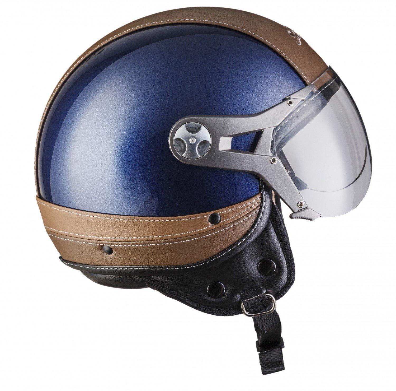 SOXON SP-325-URBAN Creme /· Cruiser Roller-Helm Chopper Scooter-Helm Jet-Helm Pilot Helmet Bobber Mofa Vintage Retro Motorrad-Helm Biker Vespa-Helm /· ECE zertifiziert /· Leder Design /· mit Visier /· inkl Stofftragetasche /&m