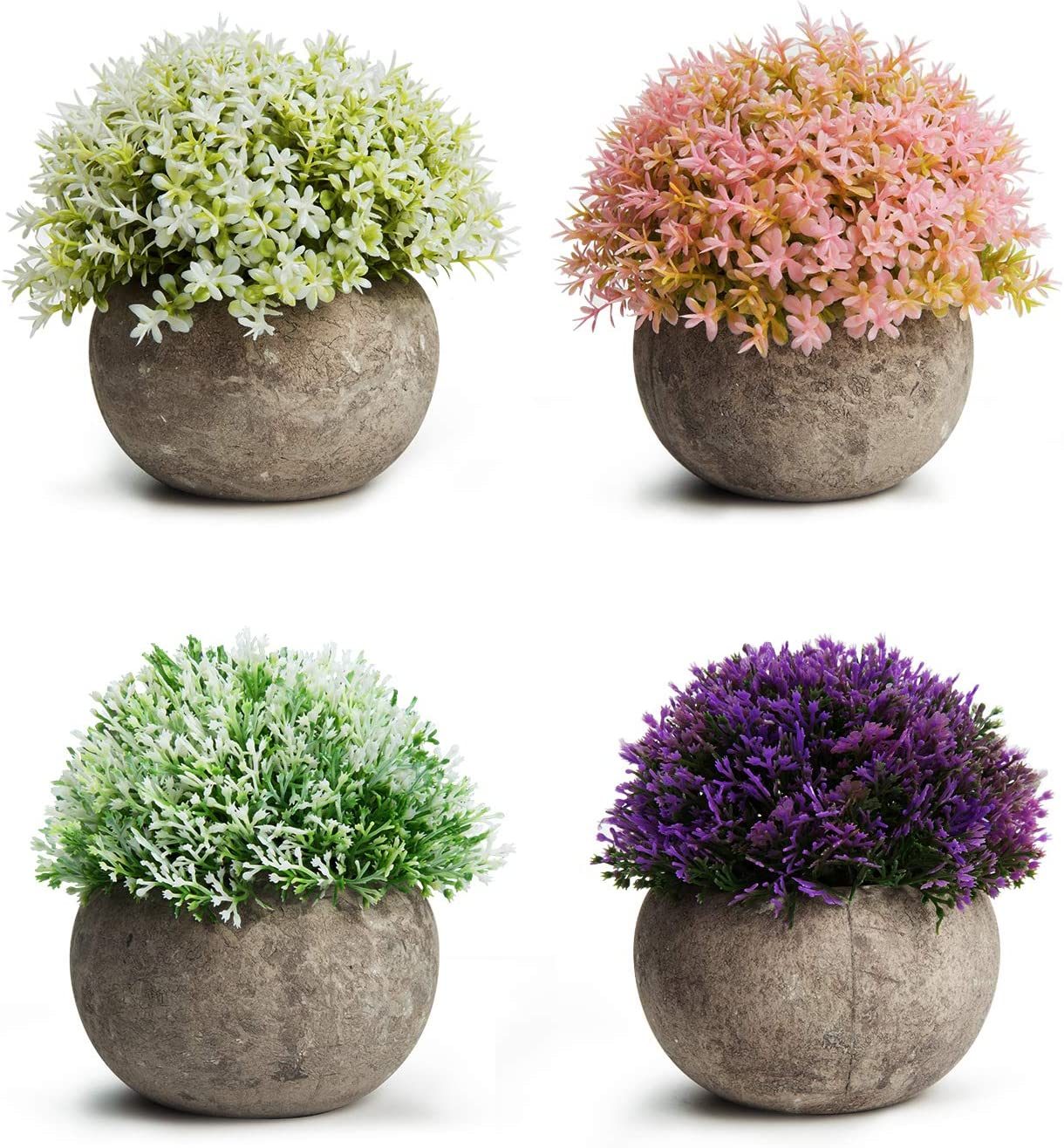 MoonLa Artificial Plants Potted Faux Fake Mini Plant Colorful Flower Topiary Shrubs in Gray Pot for Bathroom Home House Decor (Set of 4) -
