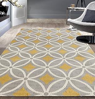 yellow gray rug living room rugshop contemporary trellis chain area rug 5 7 grayyellow amazoncom moroccan indoor