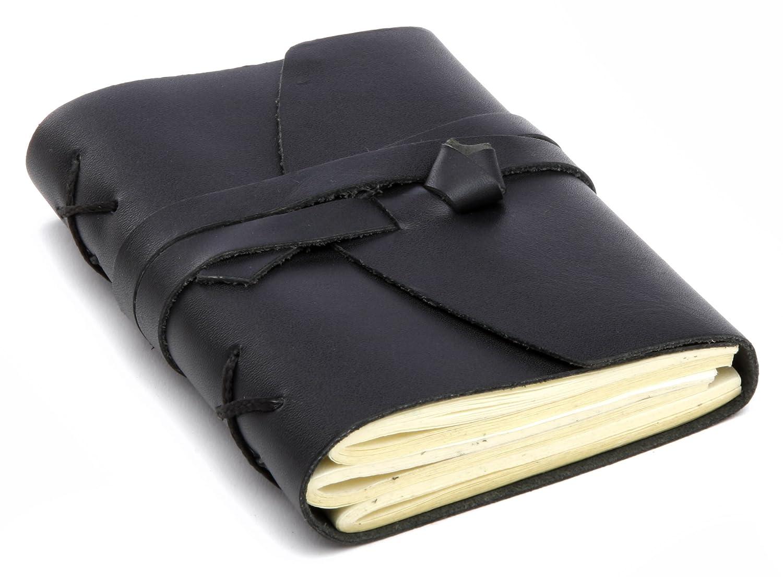 INDIARY carnet de notes-format a6/b3 lisse en cuir véritable et papier réalisé à 13 x 10 cm noir 4.25E+12