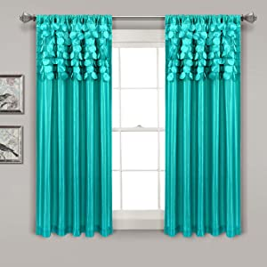 """Lush Decor Turquoise Circle Dream Window Curtains Panel Set for Living, Dining Room, Bedroom (Pair), 63"""" x 54, 63"""" x 54"""""""