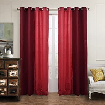 Red Linen Curtain for Living Room - KoTing 1 Panel Solid Red Curtain  Grommet Top 42 by 96-Inches