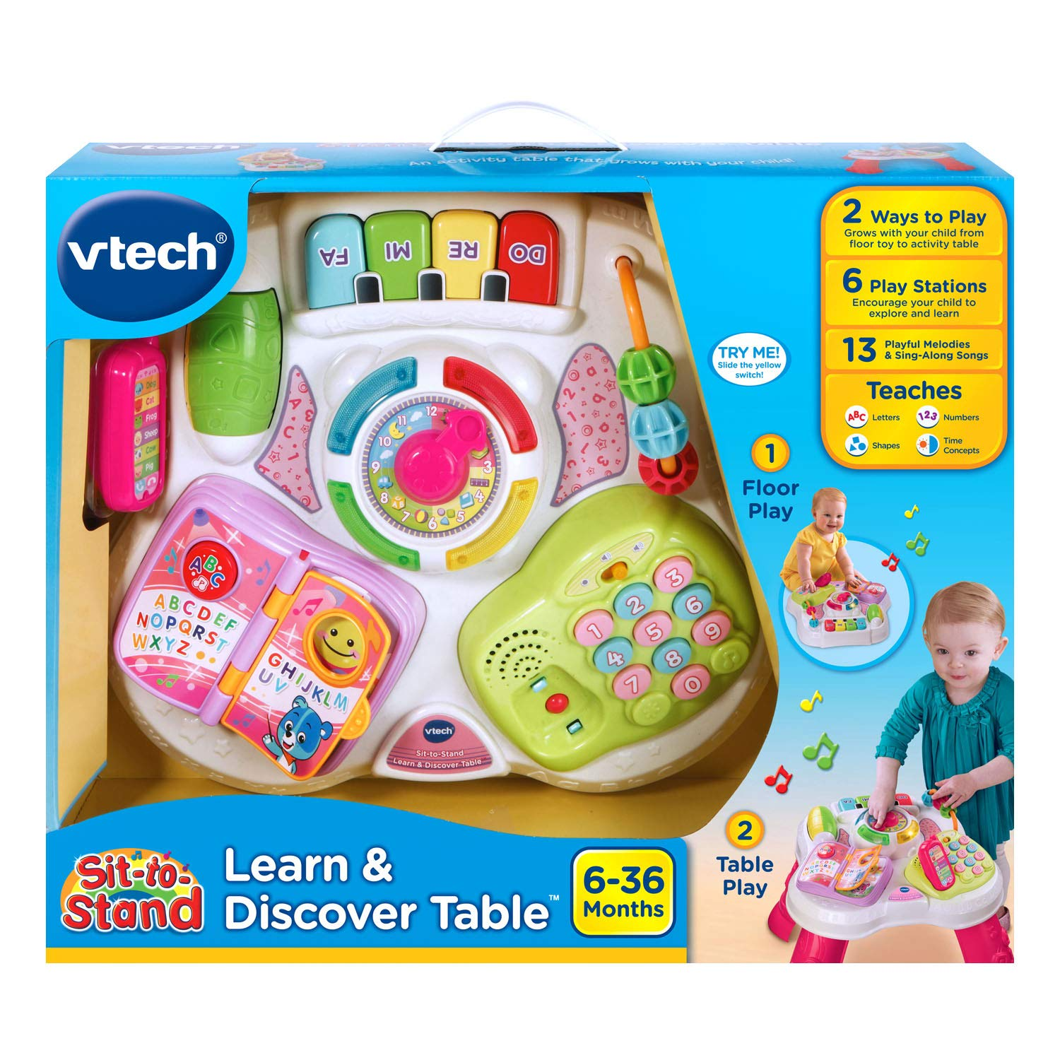 VTech Sit-To-Stand Learn & Discover Table, Pink by VTech (Image #6)