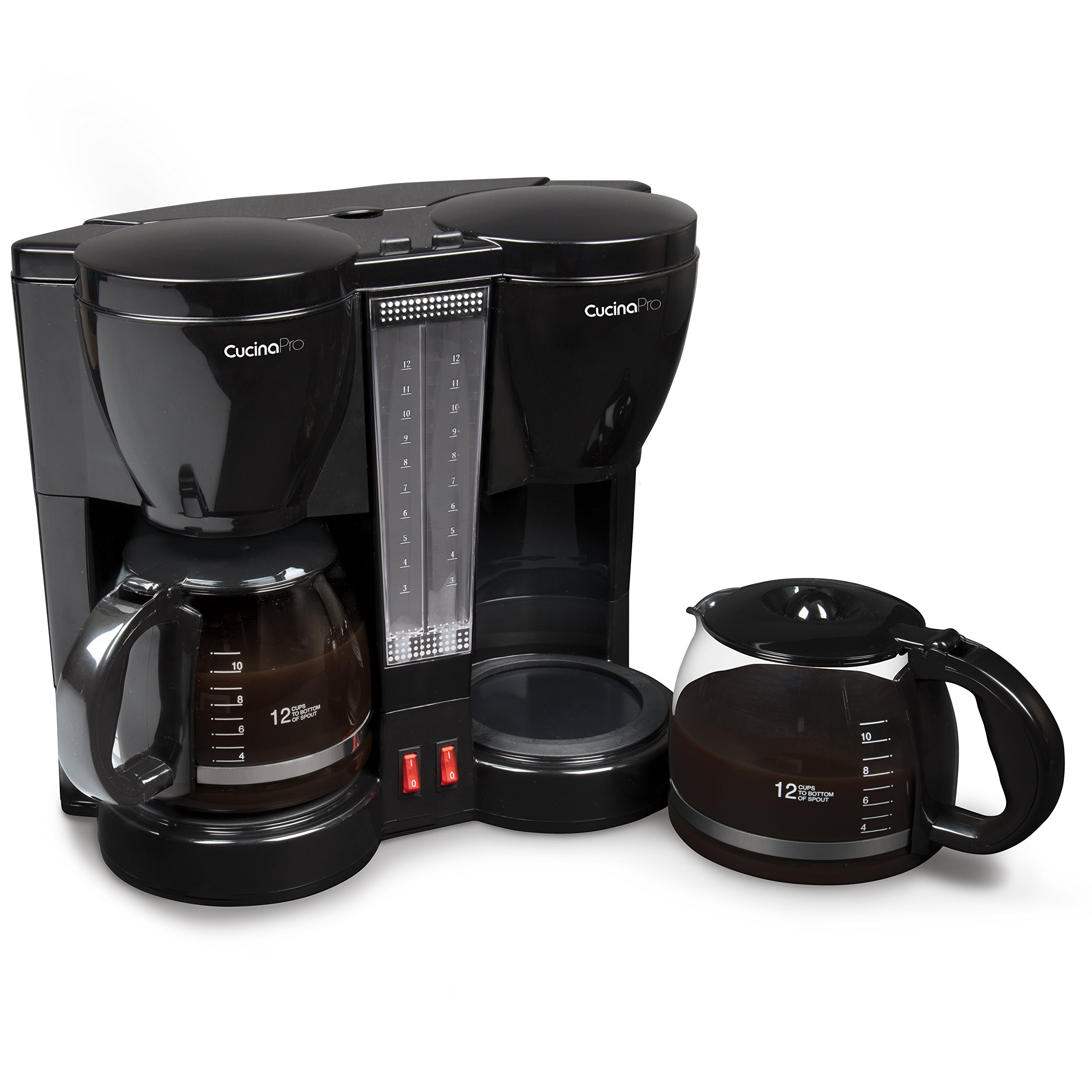 CucinaPro Double Coffee Brewer Station - Dual Coffee Maker Brews two 12-cup Pots, each with Individual Heating Elements by CucinaPro