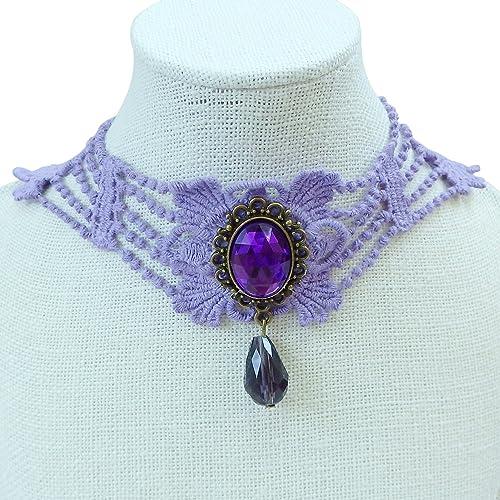 94ef10bea4 Rarelove vintage ametista collana girocollo con ciondolo viola pizzo a  goccia strass collare per le donne: Amazon.it: Gioielli