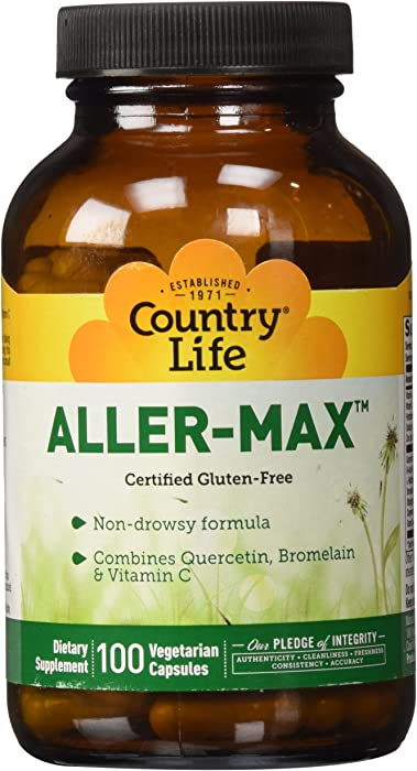 Country Life Aller-Max Non-Drowsy, Seasonal Support with Quercetin, NAC, Bromelain, Vitamin C & Stinging Nettle - Immune System Health Support - Gluten-Free - 100 Vegan Caps