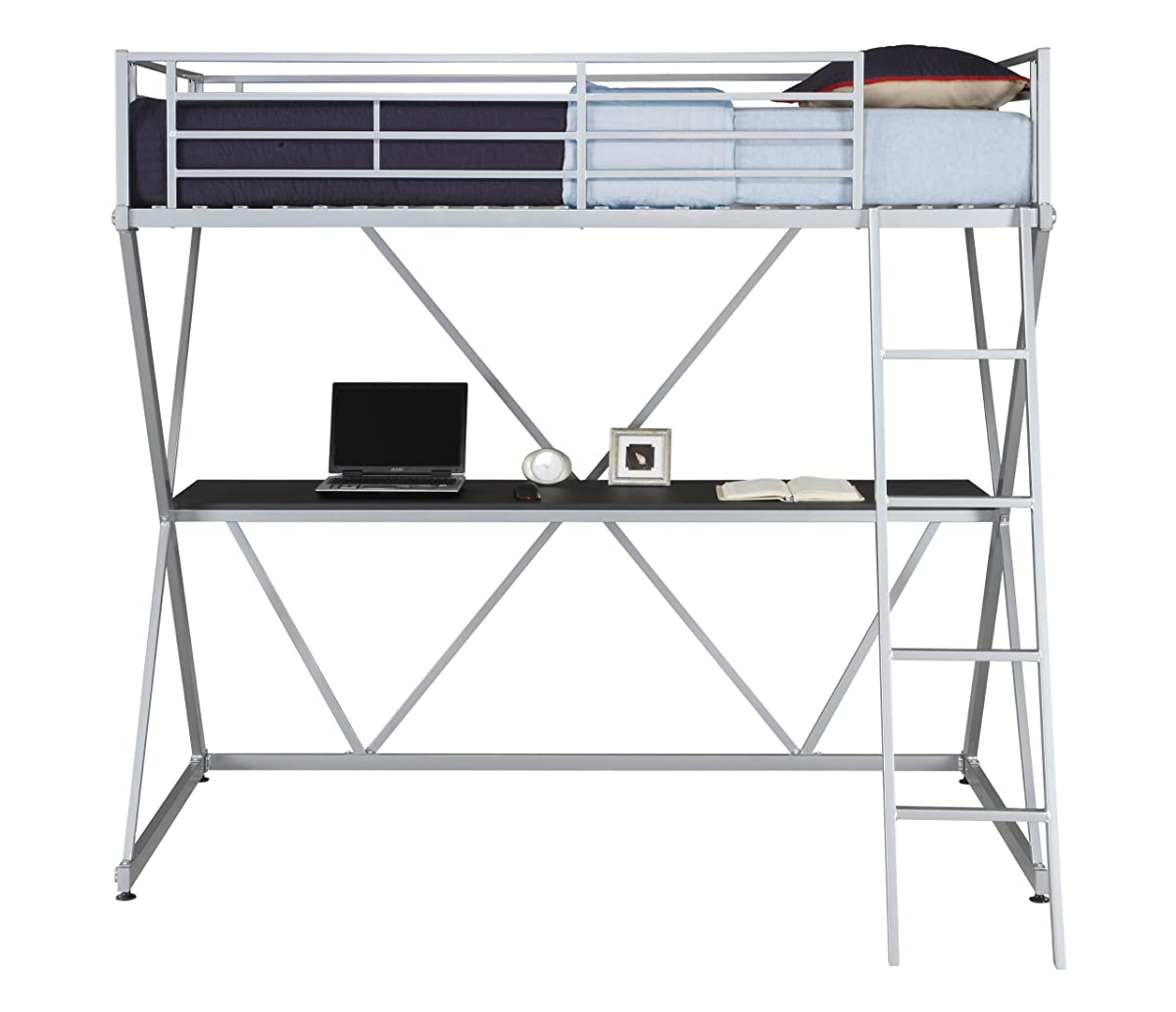 DHP X-Loft Metal Bunk Bed Frame with Desk - Silver with Space Saving Design