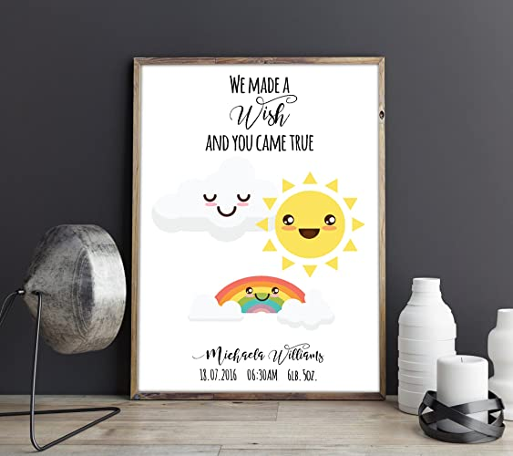 we made a wish and you came true custom personalised rainbow baby