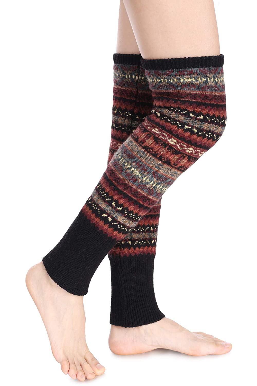 eshion (US STOCK) Womens Bohemian Flats Cut Out Shoes Knitted Knee High Crochet Boots