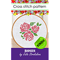 Cross stitch pattern book Roses Primitive for beginners, embroidery design in pdf Kindle format, DMC floss, easy (Cross…