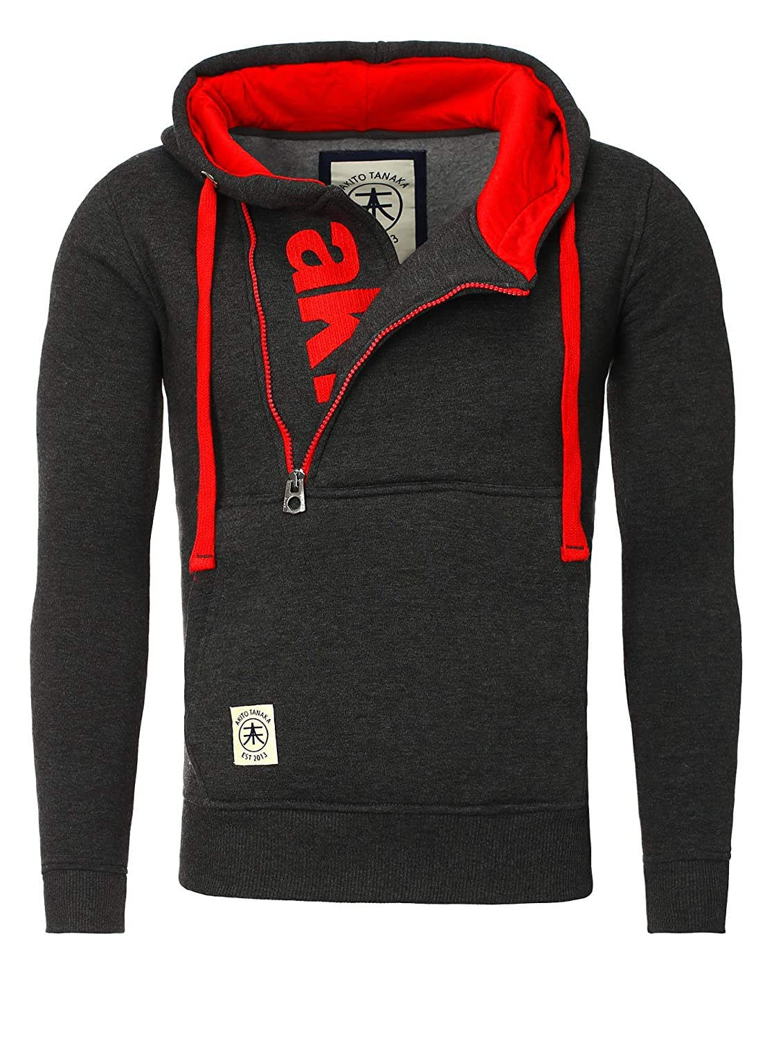 Akito Tanaka Sweater Men VERTICAL ZIP SWEAT red Charcoal