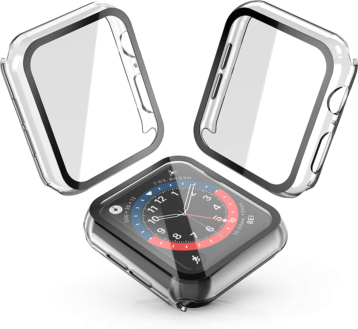 Julk Hard Case for Apple Watch Series 6 / SE/Series 5 / Series 4 44mm, 2020 New iWatch PC Overall Protective Cover with Slim Tempered Glass Screen Protector (2-Pack Transparent)