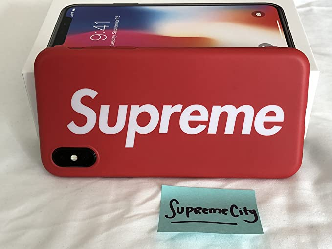 best service a5a5c 0c72b Case Compatible with iPhone X   [Supreme Box Logo RED]   Slim Sleek Fit    Hardcover Back   Impact & Shock Resistant   Drop Protection   Scratch ...