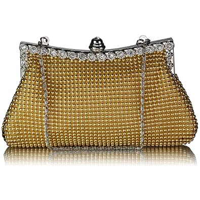 13a0d4ca5a6b Womens Beautiful Sparkly Crystal Satin Evening Party Clutch Wedding Bridal  Wallet Handy Designer Bag (A