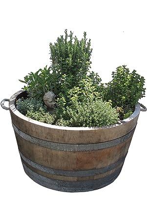Maceta de madera para hierbas y plantas, barril cortado por la mitad ...