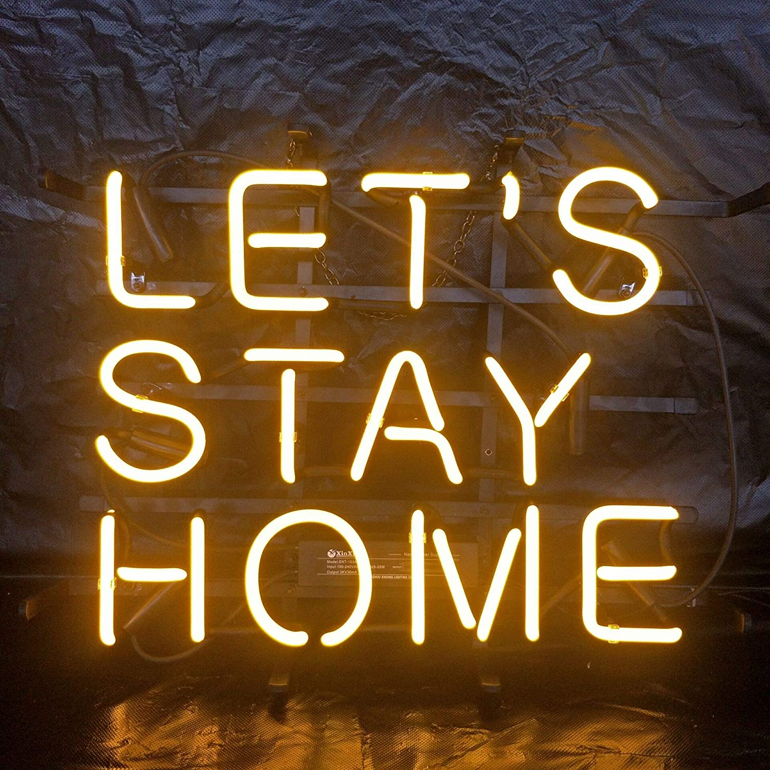 Let's Stay Home Acrylic Board Neon Sign 42cm32cm Real Glass Neon Sign Light for Beer Bar Pub Garage Room.