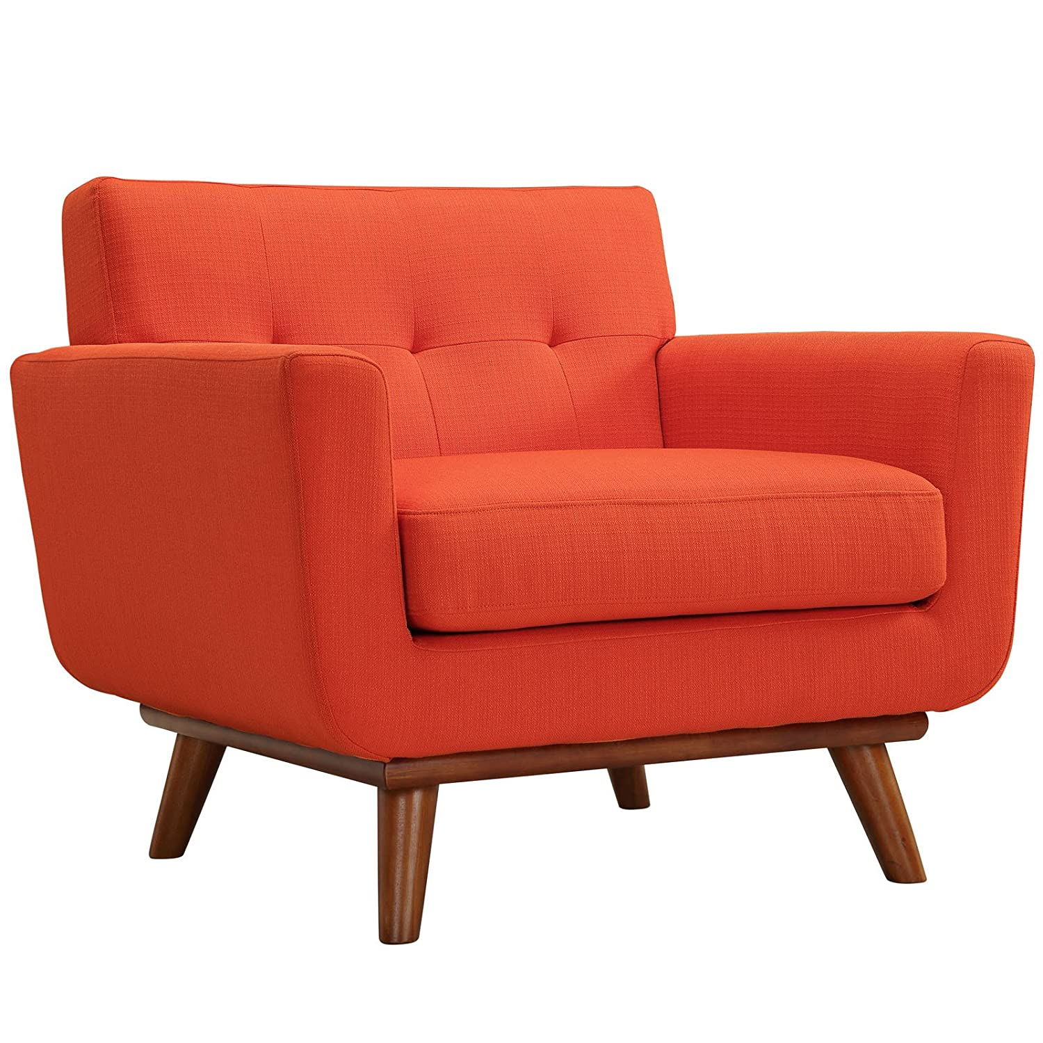 Amazon.com: Modway Engage Mid Century Modern Upholstered Fabric Armchair In  Atomic Red: Kitchen U0026 Dining