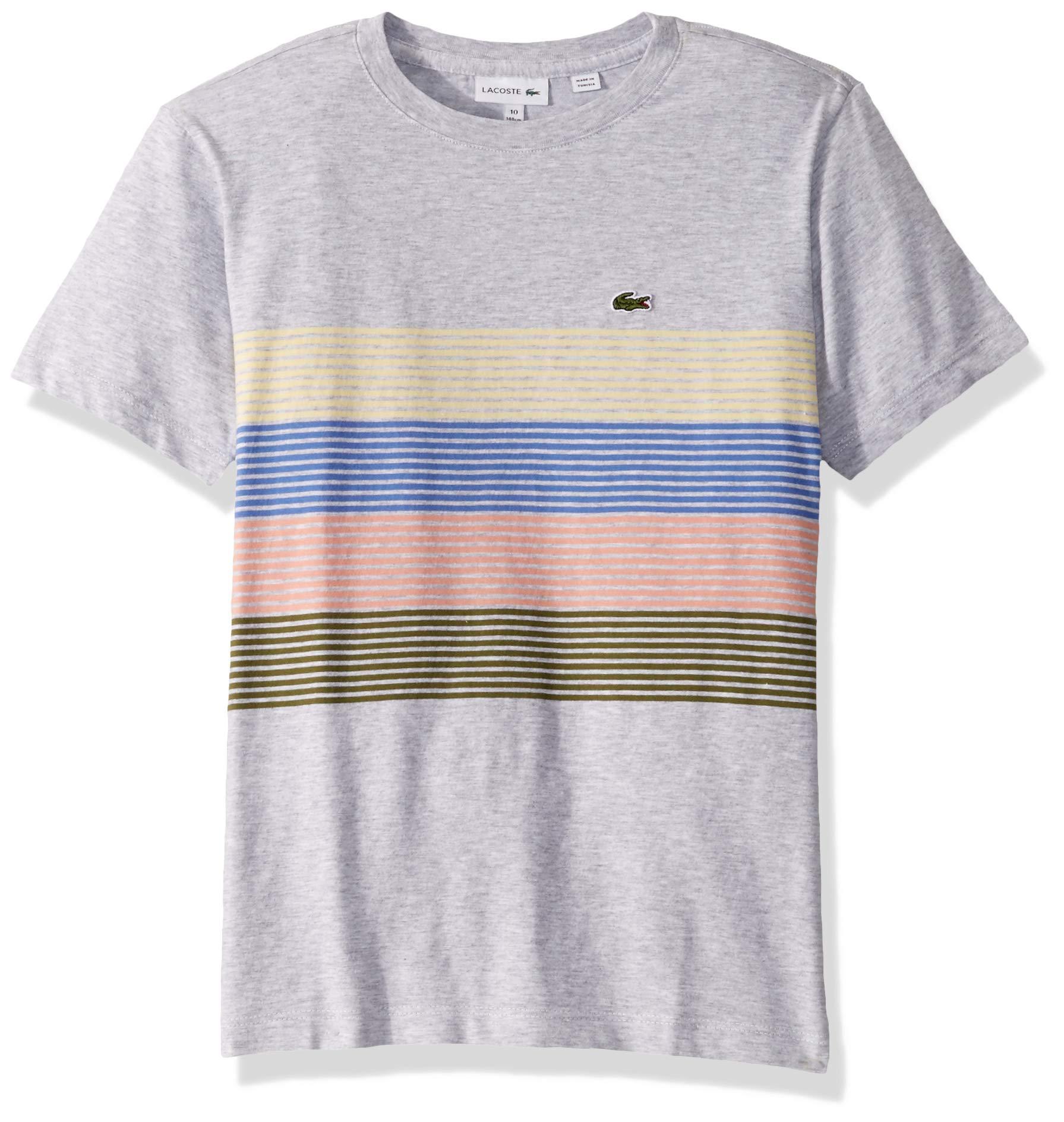 Lacoste Big BOY Color Block Chest Striped T-Shirt, Silver Chine/Marsh/ELF Pink/Milos Blue/NAPOLITAN Yellow, 16YR