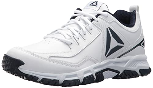 Reebok Ridgerider Leather Sneaker White Coll. Navy 9 D(M) US  Amazon ... 721c51a26