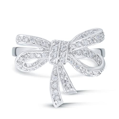 JanKuo Jewerly Vintage Style Ribbon Bow Tie Cubic Zirconia Ring in Gift Box