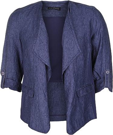 Doris Streich - Chaqueta de lino para mujer con botones azul ...