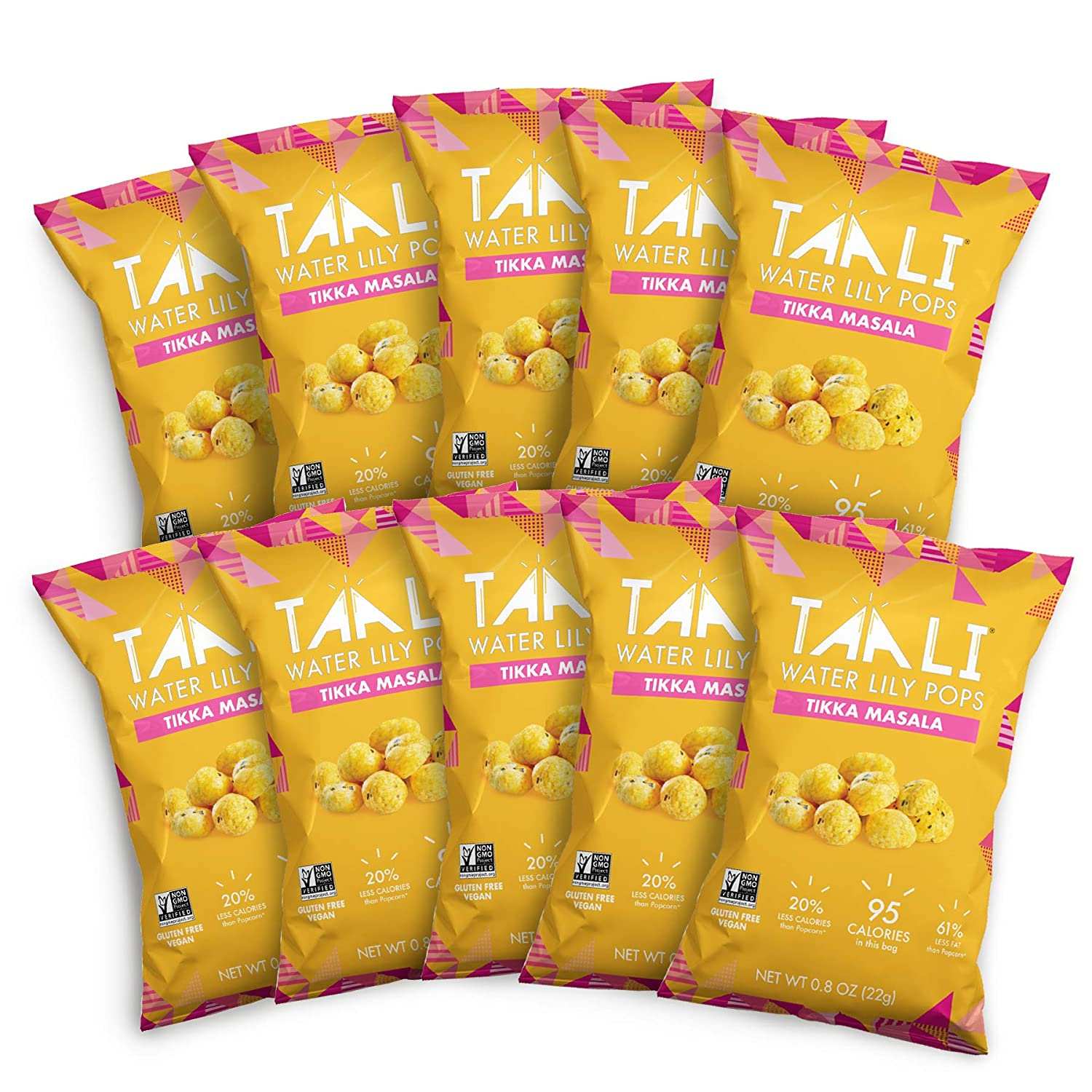Taali Tikka Masala Water Lily Pops (10-Pack) - Savory Flavor from India   Protein-Rich Roasted Snack   Non GMO Verified   Individual 0.8 oz Bags