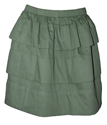 d851667ae QMack Women's Herringbone Tiered A-Line Mini Skirt Army Green (XS ...
