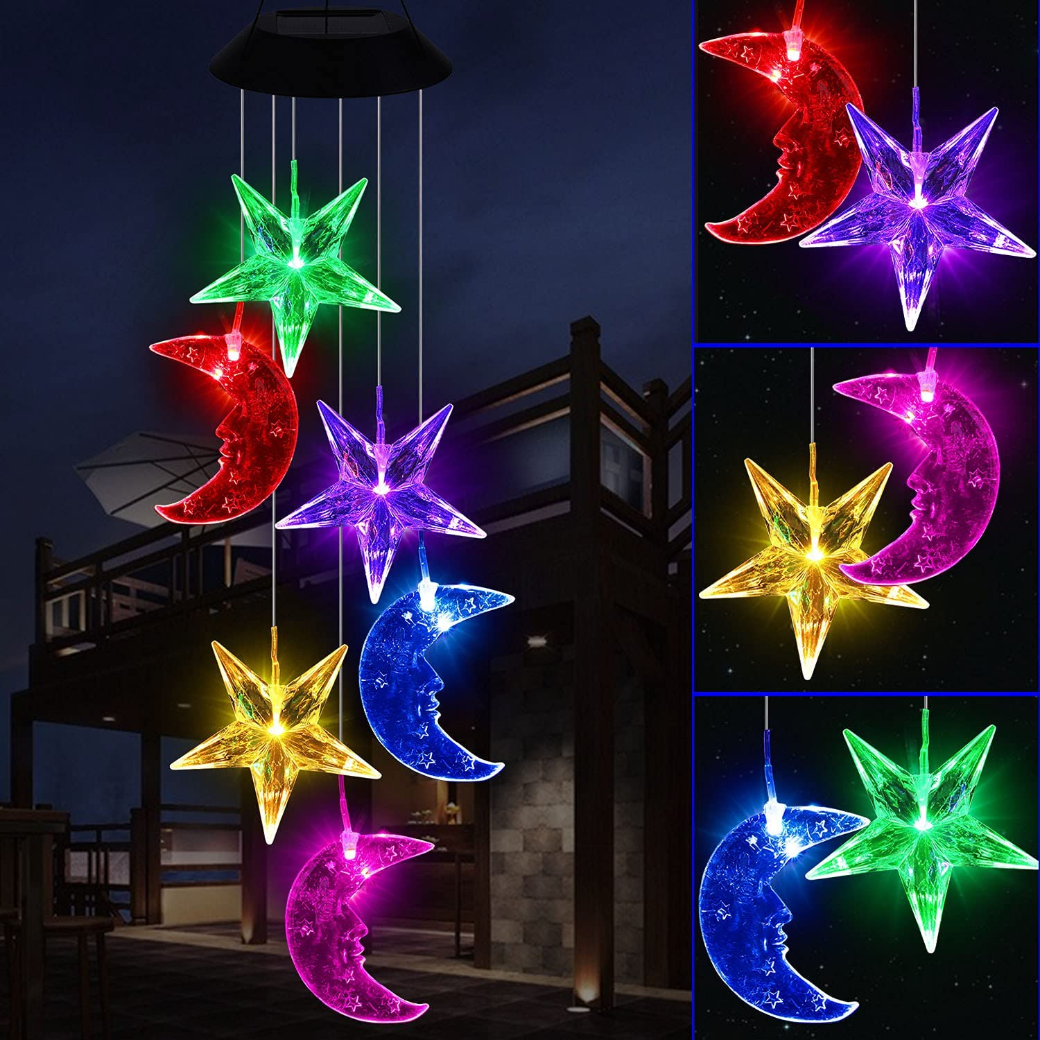 YMXBL Star&Moon Wind Chimes, Solar Color Changing Moon and Stars Wind Chimes Outdoor Decorative, Waterproof Solar Powered Moon&Star Lights, Romantic Wind Chime, Gifts for Women Home Patio Garden Decor