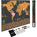 Scratch Off World Map Poster - with US States and Country Flags, Track Your Adventures. Includes Scratcher and Memory Stickers, Perfect Gift for Travelers, By Earthabitats(TM)
