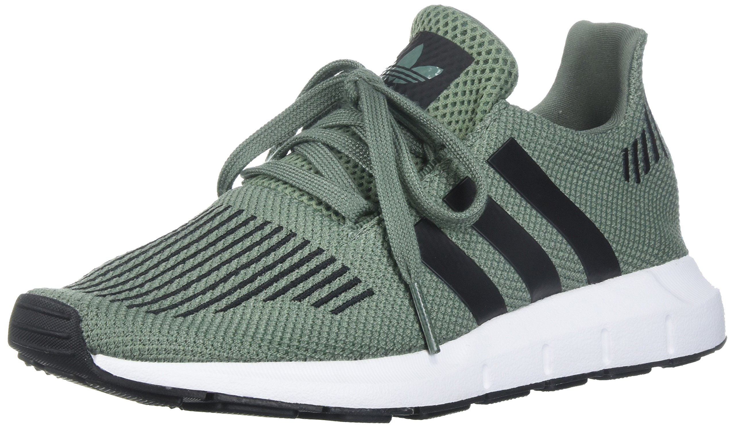 adidas Originals Boys' Swift J Running Shoe, Trace Green/Black/White, 4 M US Big Kid