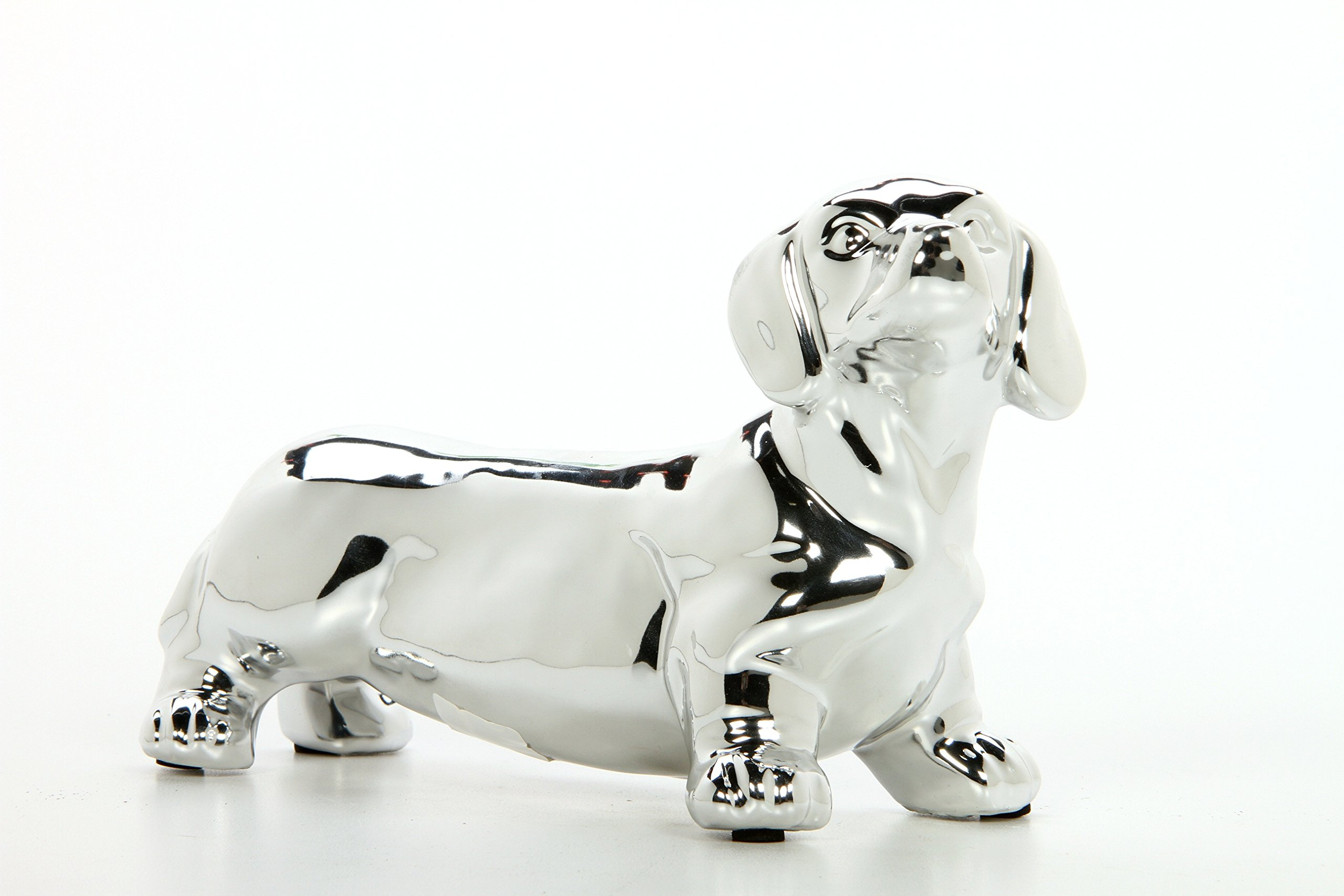 Hosley 5'' High, Decorative Tabletop Daschund Dog, Silver. Ideal Gift for Wedding, Home, Party Favor, Spa, Reiki, Meditation, Bathroom Settings O9