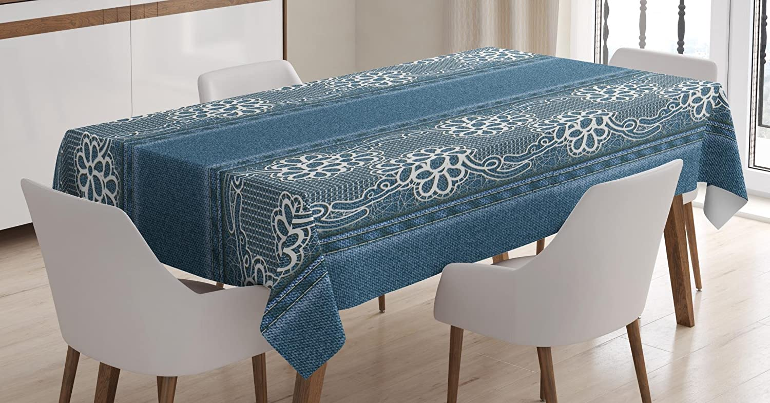 Ambesonne Floral Tablecloth by, Blue Jeans Background with White Flower Motifs Pattern Denim Themed Digital Print, Dining Room Kitchen Rectangular Table Cover, 60W X 84L Inches, Blue White