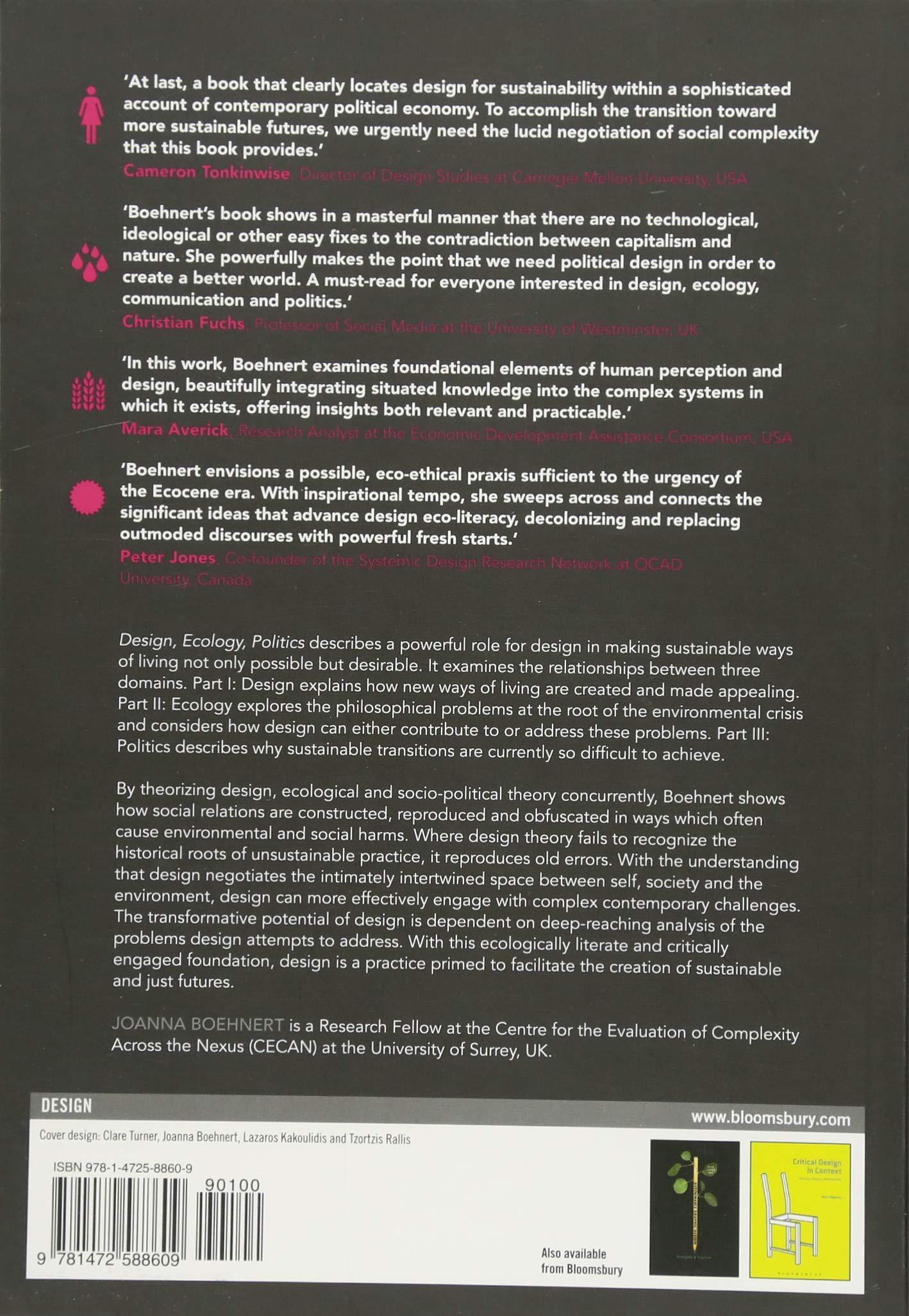 Design, Ecology, Politics: Amazon co uk: Joanna Boehnert: Books